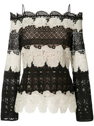 Yigal Azrouel Off Shoulder Lace Blouse Women Polyester 8 Black