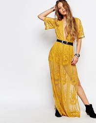 Honey Punch Boho Maxi Dress With Plunge Neck In Romantic Lace Yellow