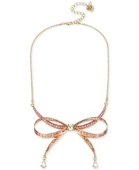 Betsey Johnson Gold Tone Pink Pave Bow Collar Necklace