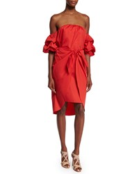 Johanna Ortiz Off The Shoulder Puff Sleeve Wrap Dress Red Size Small