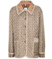 Burberry Printed Quilted Silk Jacket Beige