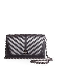 Akris Anouk Small City Oversize Herringbone Chain Shoulder Bag Black Silver