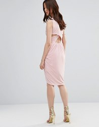 Wal G Dress With Rouched Skirt And Cross Back Blush Pink