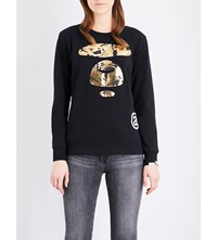 Aape By A Bathing Ape Logo Print Cotton Sweatshirt Black