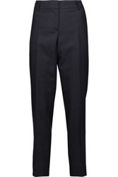 Oscar De La Renta Cropped Checked Wool Silk And Linen Blend Slim Leg Pants Midnight Blue