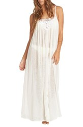 Billabong Women's Lace Trim Maxi Cover Up Dress Cool Wip White