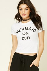 Forever 21 Mermaid On Duty Graphic Tee White Black