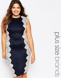 Ax Paris Plus Crochet Side Midi Pencil Dress Navynude