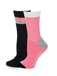 Juicy Couture Two Pack Classic Crew Socks Black Pink