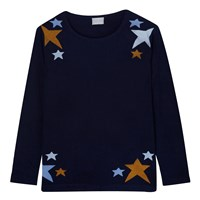Orwell Austen Cashmere Scatted Star Sweater In Navy Blue