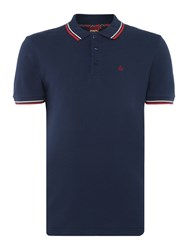 Merc Men's Card Classic Twin Tipped Polo Shirt Navy And Red Navy And Red