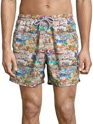 Saks Fifth Avenue Collection Printed Elasticized Swim Shorts Multi