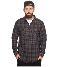 Rvca That'll Work Flannel Long Sleeve Dark Chocolate Men's Clothing Brown