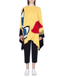 Akris Reversible Portrait Intarsia Cashmere Cape With Pockets Yellow Pattern