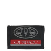 Animal Polyester 3 Leaf Wallet Black