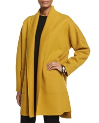 Eileen Fisher Boiled Wool Kimono Coat Mustard Plus Size Mustard Seed