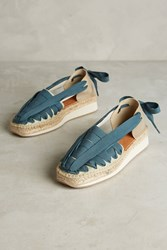 Anthropologie Naguisa Ribbon Lace Up Espadrilles Blue
