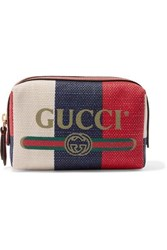 Gucci Leather Trimmed Striped Canvas Cosmetics Case Red