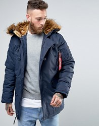 Alpha Industries Explorer Parka With Faux Fur Trim In Regular Fit Navy Ny1 Navy 1