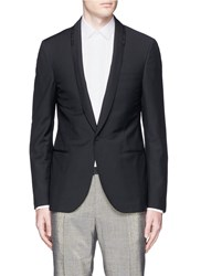 Lanvin Sequin Piped Shawl Lapel Wool Mohair Blazer Black
