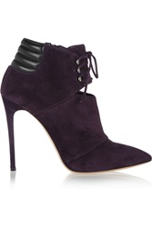 Casadei Lace Up Suede Ankle Boots Purple
