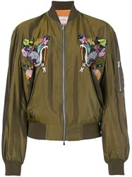Forte Couture Bird Embroidered Bomber Jacket Women Cupro 38 Green