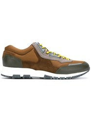 Lanvin Panel Lace Up Sneakers Brown