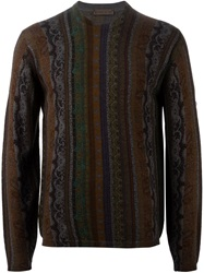 Etro Striped Floral Paisley Print Sweater Multicolour