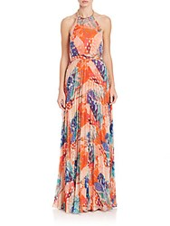 Laundry By Shelli Segal Printed Halter Gown Red Orange