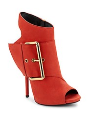 Giuseppe Zanotti Leather Cutout Heel Booties Red