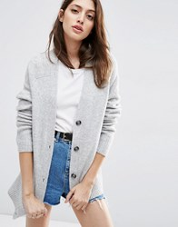 Asos Cardigan In Wool Mix Pale Grey Marl
