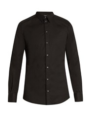 Dolce And Gabbana Gold Fit Single Cuff Stretch Cotton Shirt Black