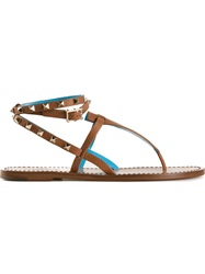 Valentino Garavani 'Rockstud' Thong Sandals Nude And Neutrals