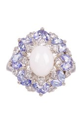 Olivia Leone Sterling Silver Opal Tanzanite And White Topaz Ring Blue