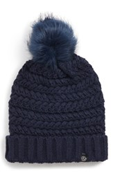Treasure And Bond Cable Knit Beanie With Faux Fur Pom Blue Navy