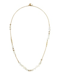 White Agate And Pearl Long Necklace Sequin
