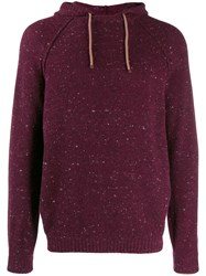Brunello Cucinelli Hooded Speckled Knit Jumper Red