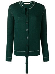 Marni Extended Placket Cardigan Green