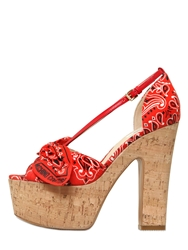 Moschino 135Mm Bandana Printed Cotton Sandals Red