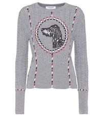 Thom Browne Embroidered Wool Sweater Grey