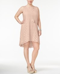 Style And Co Plus Size Lace Peasant Dress Only At Macy's Crushed Petal