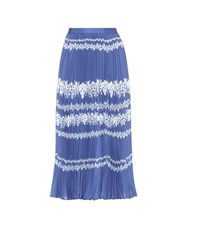 Self Portrait Flower Spell Printed Midi Skirt Blue