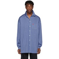 Balenciaga Blue Knit Striped Shirt