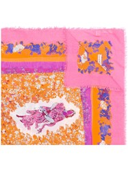 Emilio Pucci Floral Print Scarf Yellow And Orange