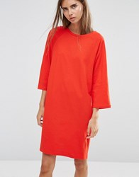 Asos Cotton T Shirt Dress With Raglan Sleeve And Boat Neck Red