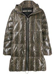 Ienki Ienki Printed Puffer Jacket Brown