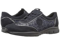 Mephisto Yael Blue Bucksoft Navy Print Steel Pearl Calfskin Women's Lace Up Casual Shoes Black