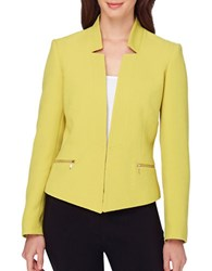 Tahari By Arthur S. Levine Textured Knit Blazer Citron Green