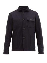 Altea Patch Pocketed Wool Blend Jacket Navy