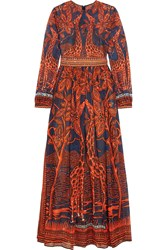 Valentino Printed Cotton Gown Orange